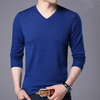 Men's Winter Casual Slim Fit Sweater Men Classic Pullover Men Solid Color V-Neck Human Cashmere Wool Sweaters Many Colors