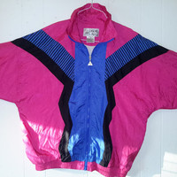 Vtg Casual Isle 80s Windbreaker Geometric Jacket Large Track Jacket Dope Full zip