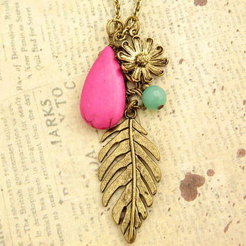 Leaf Necklace with Pink Teardrop Turquoise Accent