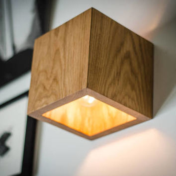 wall lamp Q#126 handmade. sconce. oak wooden lamp. wood lamp. wall light. minimalist lamp. interior design
