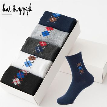 Men's Argyle Cotton Socks High Quality Casual Breatheable Anti-Bacterial Compression Socks Mens Long Sock 5Pairs / Lot  WZ008