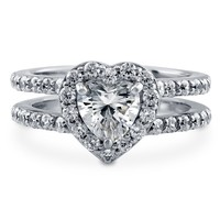 Sterling Silver Heart Shaped Cubic Zirconia CZ Halo Ring 1.89 ct.twBe the first to write a reviewSKU# R956-01