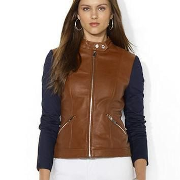 Lauren Ralph Lauren Full-Zip Leather-Cotton Jacket