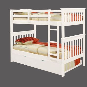 Eleanor White Bunk Bed with Trundle