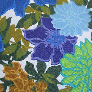 Vintage 60s Four Seasons Fabric Cotton Blue Ochre Floral 1960s Country Print Home Decor Material
