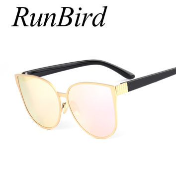 RunBird 2017 New Oversized Cat Eye Mirrored Sunglasses Women Fashion Shades Cateye Sun glasses Vintage Famale Oculos UV400 604R