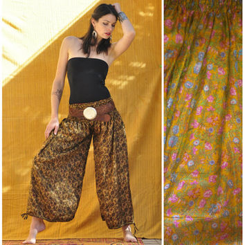 Palazo Pant  // one of a kind vintage silk reversible wide leg harem pant // . ready to ship. boho, summer threads
