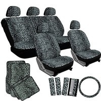 OxGord 17pc Gray Leopard Seat Cover Set for Car/Truck/Van/SUV, Gray Seats w/ Gray Mats