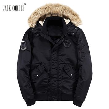 JACK CORDEE Warm Winter Jacket Men Hooded Thick Parkas Pocket Windproof Faux Fur Hat Black Coat Men Windbreaker Brand Clothing