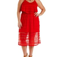Plus Size Poppy Red Lace Flounce Midi Dress by Charlotte Russe
