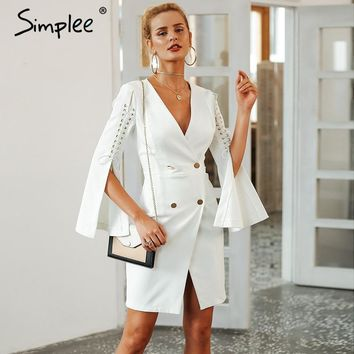 Simplee Elegant lace up split blazer women dress Autumn 2019 double breasted white dress Office slim ladies dresses vestidos