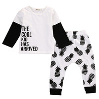 Pineapple Babies Clothing Set Cotton Newborn Baby Girl Boy Clothes Long Sleeve Letter T-shirt Tops+Pants 2pcs Outfits