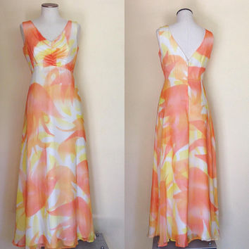 Vintage Chiffon Dress and Wrap | 70s Maxi Dress | Retro Prom