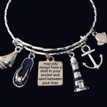 May You Always Have a Shell in Your Pocket and Sand Between Your Toes Nautical Jewelry Expandable Charm Bracelet Lighthouse One Size Fits All Gift Flip Flop Anchor Fish
