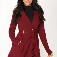 Paris Lights Ruffle Trench Coat - Burgundy