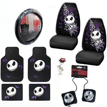 Licensed Official New 9pc Nightmare Before Christmas Car Truck Floor Mats Seat Covers Wheel Cover