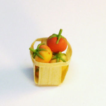Dollhouse Miniature Food Wood Basket of Tomatoes Fairy Garden Accessory