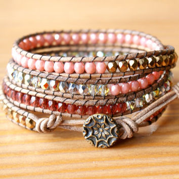 Beaded leather wrap bracelet, Bohemian trendy jewelry, Bronze, red, garnet, ruby, pink, crystal, antique, boho chic, gift idea, hipster