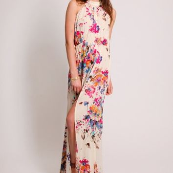 Enchanted Affair Floral Halter Dress