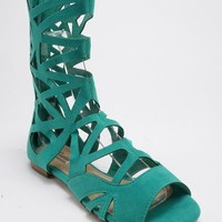 Breckelle Solo-04 Cut Out Mid Calf Vegan Open Toe Gladiator Sandal MINT
