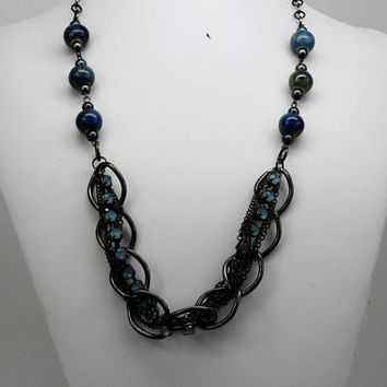 Multi Chain Necklace, Blue Statement Necklace, Multi Layered Necklace