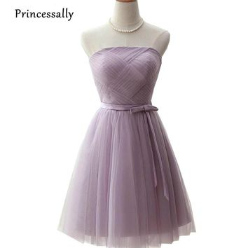 New Taro Bridesmaid Dress Purple Short Pleat Strapless Off Shoulder Simple Cheap Prom Party Formal Gown Under 50 Robe De Soriee