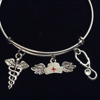 Stethoscope and Nurse Angel Wings Expandable Silver Charm Bracelet