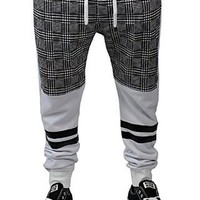 Jogger Pants for Men Gray White Drop Crotch Jogger Pu Leather Accent