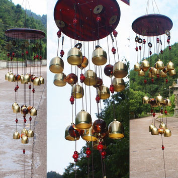 Feng Shui Copper 18 Bells Wind Chimes Yard Garden Outdoor Noise Maker Windbell Good Luck
