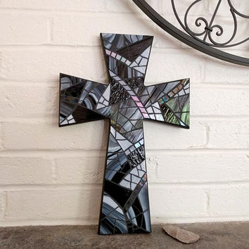 Black Wall Cross, Black Crucifix, Large Black Cross, Mosaic Cross, Stained Glass Cross, Black Cross Wall Hanging, Modern Cross Wall Decor