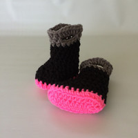 Baby Firefighter Fireman Boots in Pink Black and Gray - Baby Booties