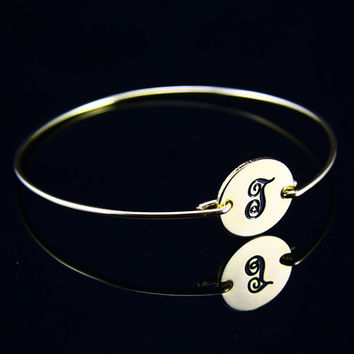 Golden Monogram Bracelet, Name Bangle Custom initial Golden Braclets (initial i)