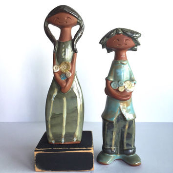 Vintage Pottery Boy and Girl Figurines Lisa Larson Style