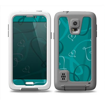 The Teal Swirly Vector Love Hearts Skin Samsung Galaxy S5 frē LifeProof Case