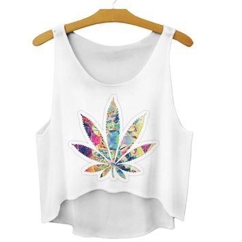 Hippy Weed flower Cropped Top