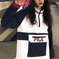 FILA Autumn And Winter New Fashion Letter Print Sleeve String Mark Print Half Zipper Contrast Color Couple Long Sleeve Sweater Top