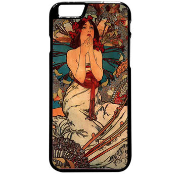 vintage Alphonse Mucha painting For iPhone 6 Plus Case *ST*