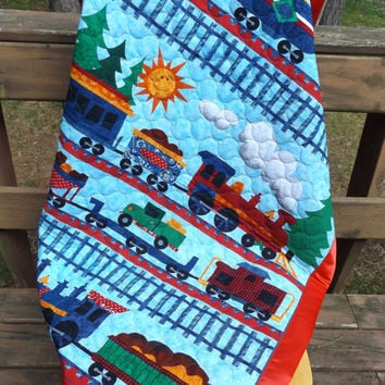 Sale - Choo Choo Train Large Crib Quilt with Satin Binding - Navy, Aqua, Orange, Green - Whole Cloth Machine Quilted Baby Quilt