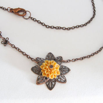 Mustard yellow flower necklace with copper filigree by PragueVintage