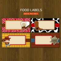 Cowboy DIY Printable Food Buffet Labels - Wild Wild West themed Party Place Cards or Food Tent Cards - INSTANT DOWNLOAD