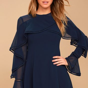 Night Lights Navy Blue Long Sleeve Skater Dress