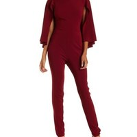 Burgundy Caped Skinny Jumpsuit by Charlotte Russe