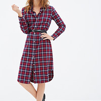 FOREVER 21 Plaid Flannel Shirt Dress Navy/Red