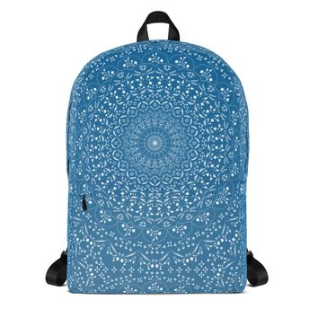 Mandala in Blue Backpack
