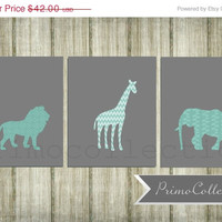 Nursery Wall Art Prints / set of 3 / safari animals / elephant , giraffe, lion / 8x10 inch / teal and gray / baby boy / boy's room decor