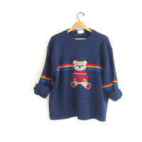 vintage teddy bear sweater // novelty party sweater in blue with rainbow stripes