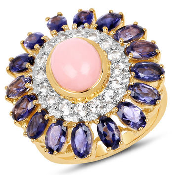 14K Yellow Gold Plated 5.44 Carat Genuine Opal, Iolite & White Topaz .925 Sterling Silver Ring
