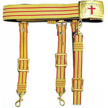 Knights Templar Past Commander Red & Gold Sword Belt