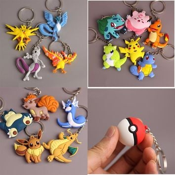 3D Pocket Monster Pikachu Keychain Key Holder Pokemon Go Key Ring Pendant Anime Poke Ball