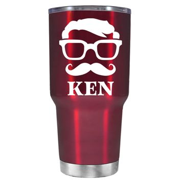 TREK Personalized Mustache Groomsmen on Translucent Red 30 oz Tumbler Cup